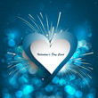 Abstract Valentines Day blue colorful  background with heart cel