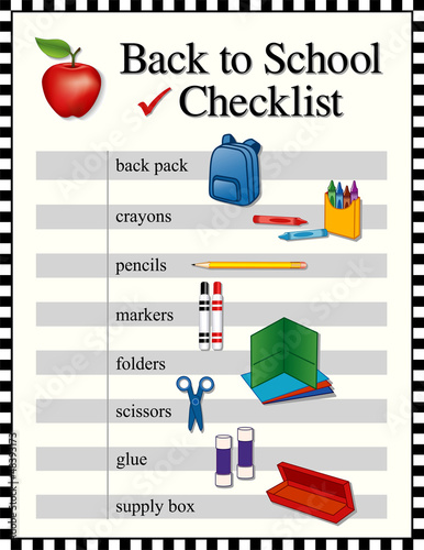Checklist, Back to school, education supplies, check frame