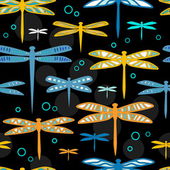 Colorful dragonflies on black seamless pattern, vector