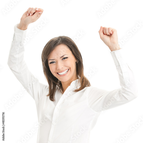 Happy smiling gesturing businesswoman, isolated