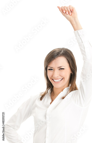 Happy smiling gesturing businesswoman, isolated on white backgro