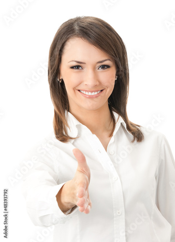 Portrait of happy smiling businesswoman, giving hand for handsha
