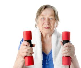 active senior woman isolated on white