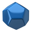 Blue dodecahedron isolated on white background