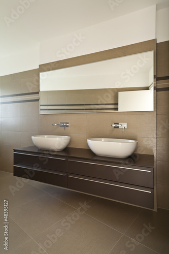 interior modern bathroom,  two sinks
