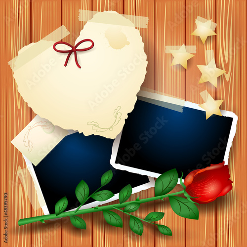 Romantic background with rose and photo frames