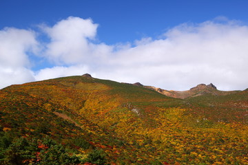 Mt. Adatarayama in autumn, Fukushima, Japan