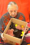 Gestorbene Katze in Ihrem Sarg aus Karton mit Blumen geschmückt
