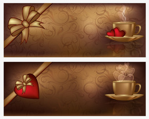 Two valentines day banners with coffee, vector illustration