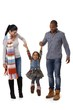 Mixed race family with cute little girl walking