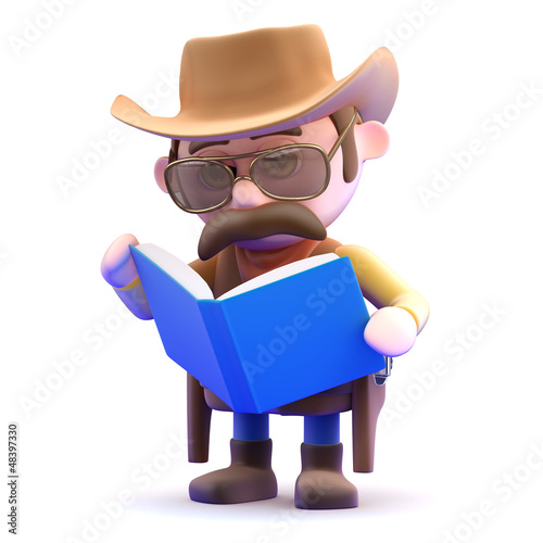 Cowboy reads an interesting book