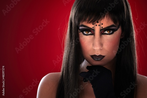 Young woman with black makeup