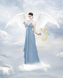 Angel with lyre on the cloud