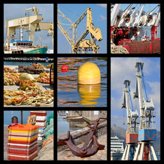 Eight photos mosaic of various objects in harbor