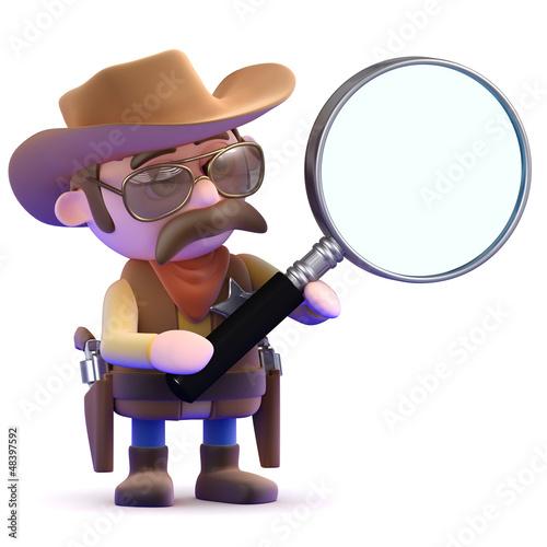 Cowboy uses a magnifier
