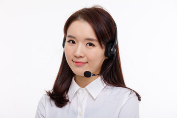 Smiling call center operator business woman show thumbs