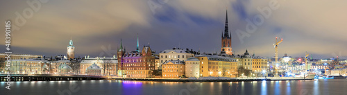 Panorama Cityscape of Gamla Stan Stockholm Sweden - 48398185