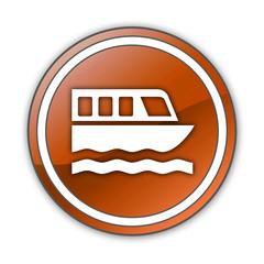 """Orange Glossy Button """"Boat Tour"""""""