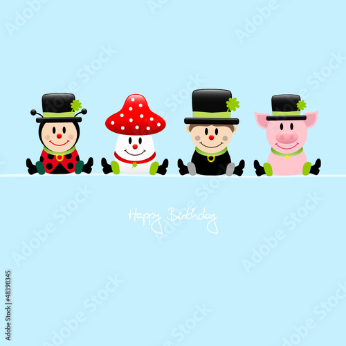 "Ladybeetle, Fly Agaric, Chimney Sweep, Pig ""Happy Birthday"" Blue"