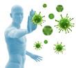 Abwehrkräfte und Immunität - Illustration Bakterien