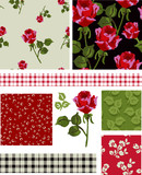 1940s Vector Seamless Rose Patterns and Icons.