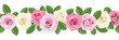 Vector horizontal seamless background with pink and white roses.
