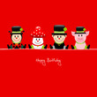 "Ladybeetle, Fly Agaric, Chimney Sweep, Pig ""Happy Birthday"" Red"