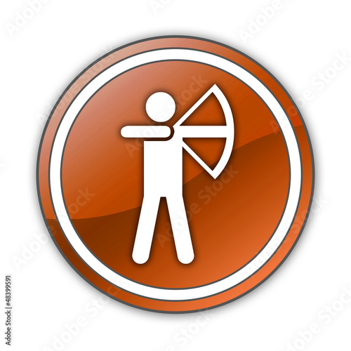 "Orange Glossy Button ""Archery"""