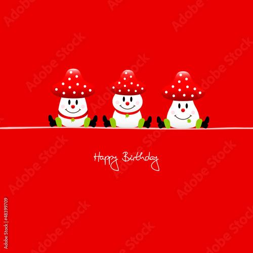 """3 Sitting Fly Agarics """"Happy Birthday"""" Red"""