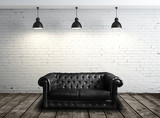 Fototapety leather sofa in room
