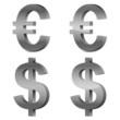 Set of 3d silver glossy Euro & U.S. Dollar icon, symbol