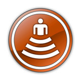 "Orange Glossy Button ""Amphitheater"""