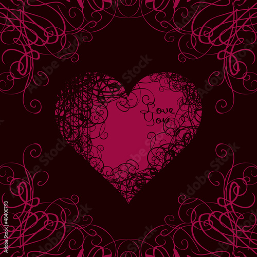 red heart in curls on a black background