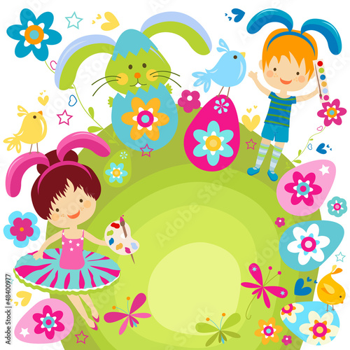boy and girl celebrating easter