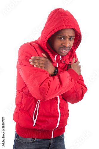 African American man wearing a winter coat