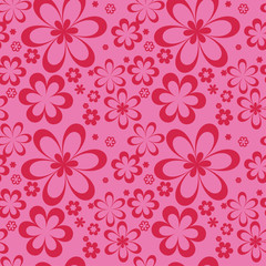 Pattern red flowers on a pink background