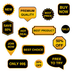 Black and gold set of stickers, labels, badges Vector