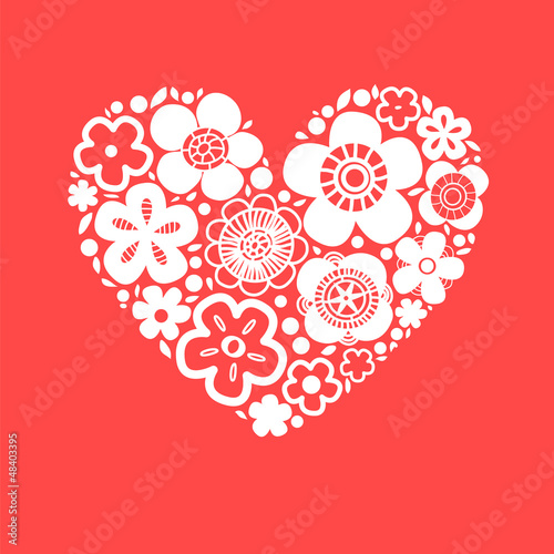 Flower heart on red romantic greeting card, vector background