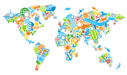 World map of the world from symbols of tourism and travel