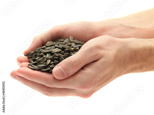 man hands with grain, isolated on white