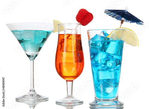 Alcoholic cocktails with ice isolated on white