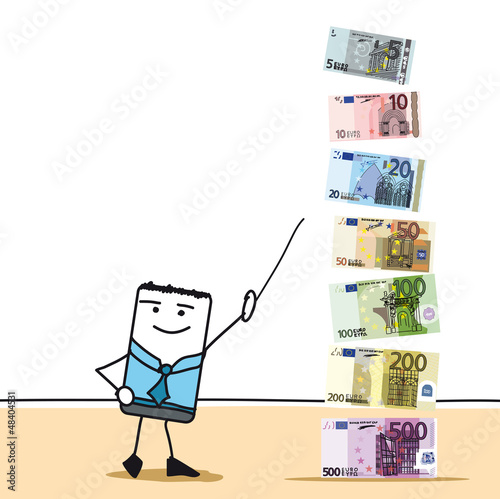Les billets euros 5, 10, 20, 50, 100, 200, 500