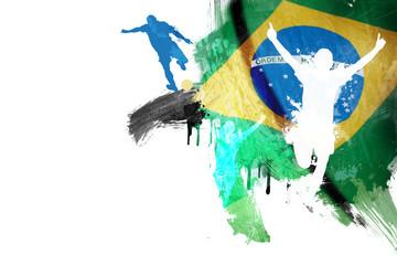 Drapeau Brésil Football