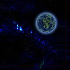 Blue planet on dark background