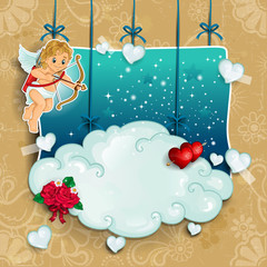 Cupid and clouds hung