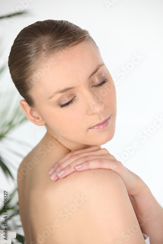 Attractive woman with her eyes closed
