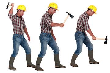 Man using hatchet