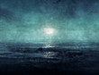 canvas print picture - Ocean at night painting