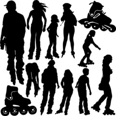 rollerskating silhouettes - vector