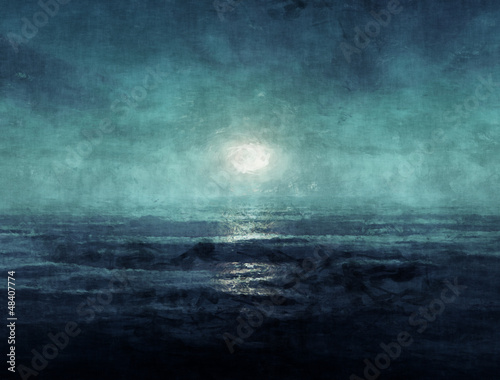 canvas print picture Ocean at night painting